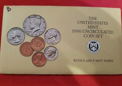 United States Mint - 1990 Uncirculated Coin Set - D & P Mint Marks !!!
