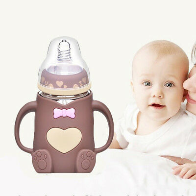 Baby Glass Milk Feeding Bottle Width Neck Hand Holder Shatter Proof Milk Bottle