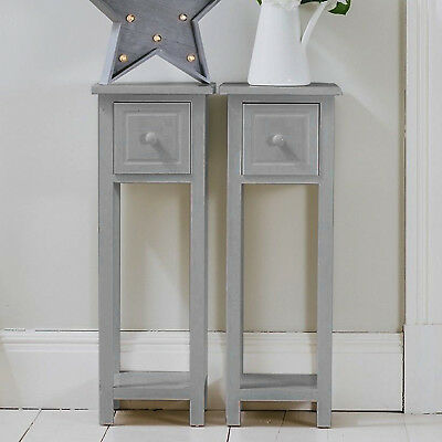 Pair of Bedside Tables With Drawer Grey Two Hallway Slim Living Room Table