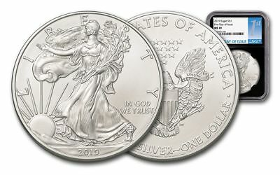 2019 Silver American Eagle NGC MS-70 FDI 1 oz Silver USA Made Black Core Coin