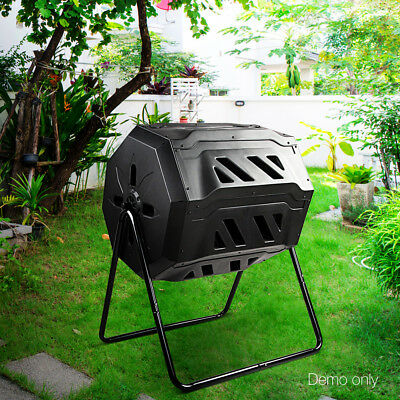 160L Twin Chamber Compost Aerated Bin Recycling Food Waste Garden Composter @SAV