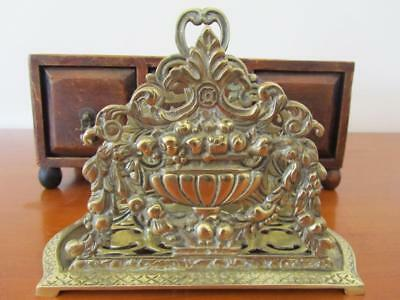 Vintage Magnificent Intricate Heavy Large SOLID BRASS Book Holder / Letter Rack