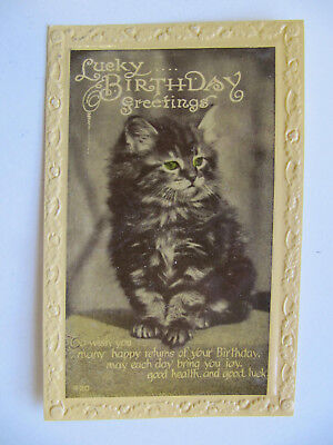 Lucky Birthday Greetings - Vintage Postcard (1945) WW2 Quote from Churchill