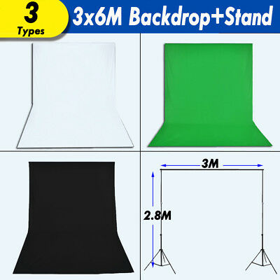Pro 3x6m Photo Backdrop Black Whtie Green Background Screen Support Stand Studio