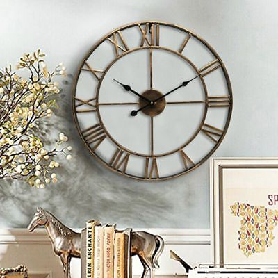 Large Outdoor Garden Wall Clock Metal Roman Numeral 47CM Round Face Vintage