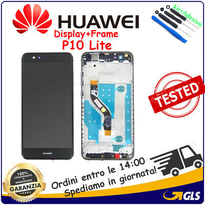 DISPLAY LCD +TOUCH SCREEN VETRO+ FRAME  PER HUAWEI (P10 LITE) WAS-LX1A nero