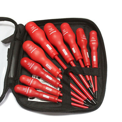 9PCS 1000V Insulated Electrical Screwdriver Set Electrician Slotted Tool Case