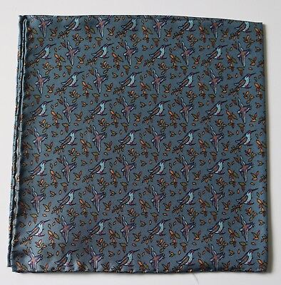 Blue Silk Pocket square Bird print 40cm. Hand rolled