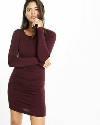e6882575081 EXPRESS SMALL BURGUNDY RUCHED CREW NECK SWEATER DRESS Long Sleeve ...