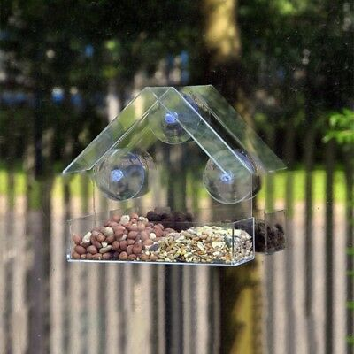 Acrylic Window Pet Bird Feeder With Strong Suction Cup Birdhouse Seed Clear  Tray