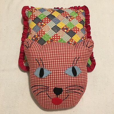 Handmade Pillows Cat Patchwork Ruffles Country Red Blue White