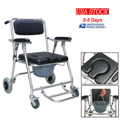 Commode Wheelchair Bedside Toilet & Shower Chair Bathroom Rolling Chair US STOCK