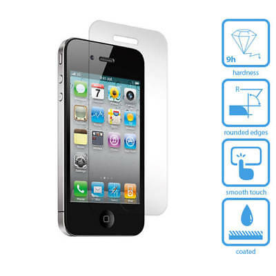NEW 100%  Real TEMPERED GLASS FILM SCREEN PROTECTOR FOR APPLE IPHONE 4/4s