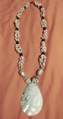 beaded necklace with mother of pearl
