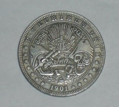 Dollar Size Hobo Nickel Style SKULL PIRATE Novelty Coin 1901 Morgan
