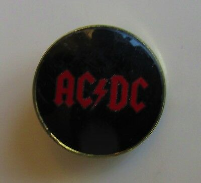 AC/DC RED LOGO OLD METAL PIN BADGE FROM THE 1980's CRYSTAL STYLE ANGUS YOUNG