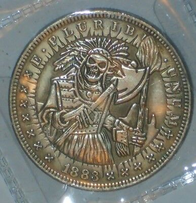 Dollar Size Hobo Style SKULL TOMAHAWK Native American Fantasy Coin 1883 Morgan