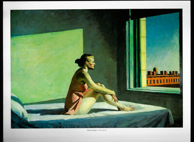 Edward Hopper art Print Book Plate Morning Son realism woman in bed
