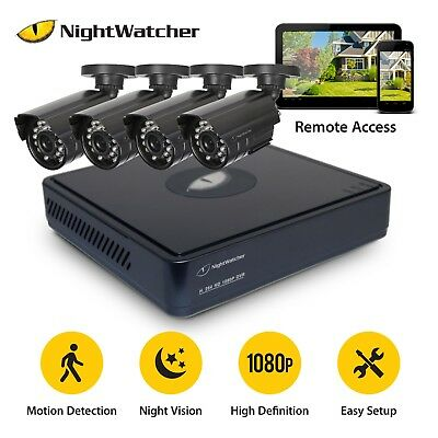 CCTV System 4CH With 1TB Hard Drive DVR Night Vision IP Camera Home 1080P