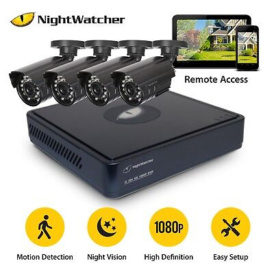 Nightwatcher CCTV System 4CH, 1TB Hard Drive DVR Night Vision, Camera Home 1080P