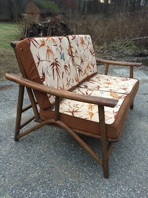 Ficks Reed Rattan 2 section sofa Vintage Love-seat Mid Century Modern