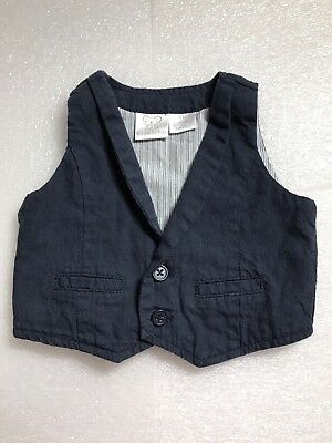 Koala Baby Boy Dark Wash Denim Vest 3 Month Lined inside with Buttons Down Front