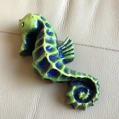 Green Pottery Seahorse Seaside Ornament Figurine Bathroom Wall Plaque Signed PH
