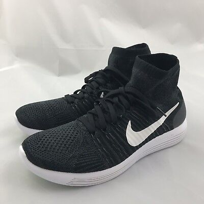 fb3a8523354fa Nike Lunarepic Flyknit Men s Running Shoe Size 10.5 Black White 818676-007  NEW
