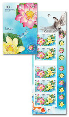 2018 Canada Lotus Booklet Of 10 Stamps Flowers MNH Dragonfly Annual Series