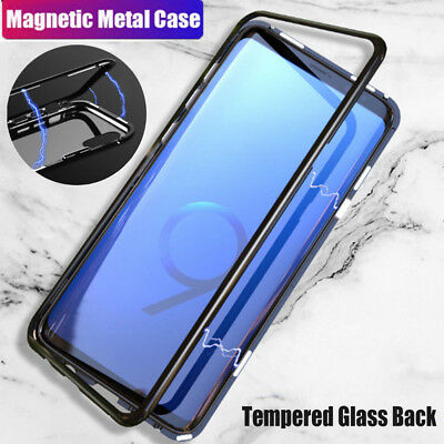 For Samsung S8 S9 Plus Note 8 9 Magnetic Adsorption Case Tempered Glass Cover