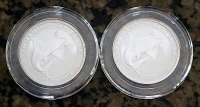 2015 50¢ Australia, Lot of 2, 1/2oz .999 Silver Great Hammerhead Shark, BU, NR
