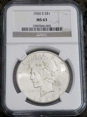 1926-S Peace Silver Dollar NGC MS63, No Reserve & Free Shipping!