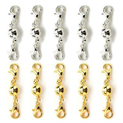 10Pcs Gold & Silver Ball Tone Magnetic Lobster Clasps for Jewelry Necklaces JH