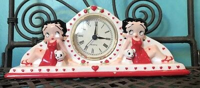 """Rare Betty Boop Mantel Clock Licensed King Features 2000 10 1/2"""" Tested"""