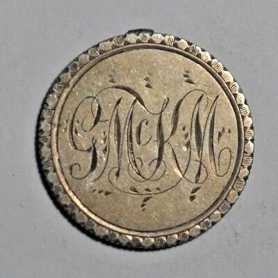 Canada - mid-late 19th century love token - G Mc K M monogram - on Victoria 25 c