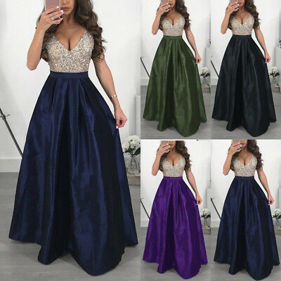 Women Sleeveless V Neck Prom Dress Evening Party Bridesmaid Long Ball Gown Dress