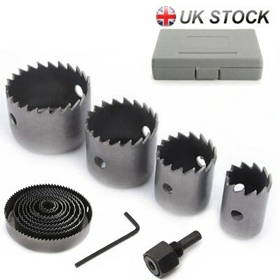 17 Hole Saw Kit Set 19-127mm Mental Circle Cutter Round Drill Wood Downlight UK