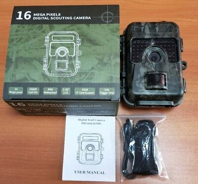 16Mp 1080P Ip66 Night Vision Hidden Trap Game Trail Camera W/Sd Card W/Viewer