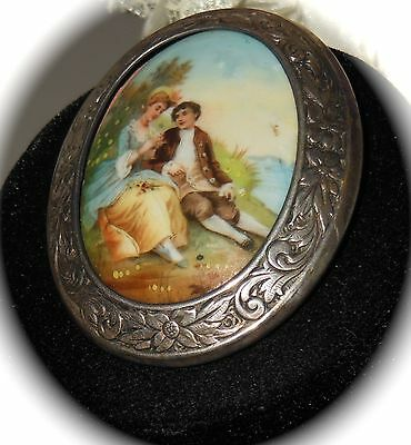 Beautiful Antique 1800s Victorian Ornate Silver Hand Painted Porcelain *BROOCH*