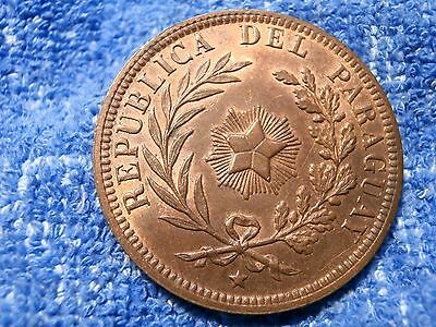 Paraguay: Scarce 4 Centesimos 1870 Very Thick Copper Coin About Uncirculated!!