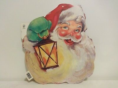 Vintage New Old Stock Eureka Santa Face Cardboard Die Cut Christmas Decoration