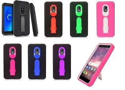 FOR ALCATEL 1X Evolve IdealXTRA 5059R TCL LX A502DL Rugged Phone Case with  Stand