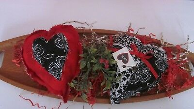 Valentine's Day Red/blacko Print Set Of 2 Heart Bowl Fillers Size 7 In