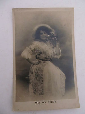 Antique UK postcard Glamour Lady Miss Evie Greenie written on rear, used 1906
