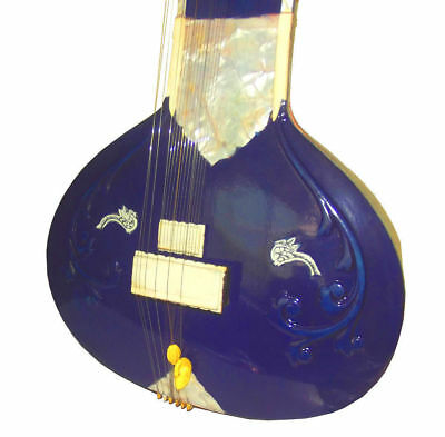 Stunning Electric Blue Rock Fusion Indian Acoustic-Electric Collectors Sitar