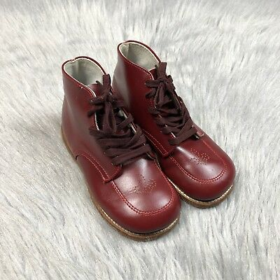 Vintage 1950s 60s Leather Red Toddler Boys Girls Lace Up Boots