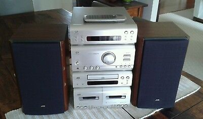 JVC Compact Bookshelf Stereo System with Speakers CA-F3000 Amp, CD, Tuner, Tape