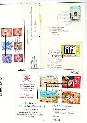 Muscat & Oman FDCs 4 First Day Covers 1966 low values to 1972 Book Year