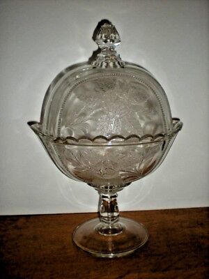 Antique Dome Cover Compote Rose pattern Large Footed clear glass vtg candy bowl