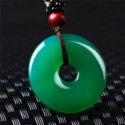 China hand-carved Green Agate Natural jade Circle Donut Pendant Necklace Amulet